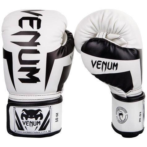 Wit zwarte (kick)bokshandschoenen van Venum elite.