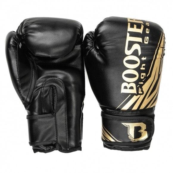 Zwart gouden kickbokshandschoenen Booster BT Champion.