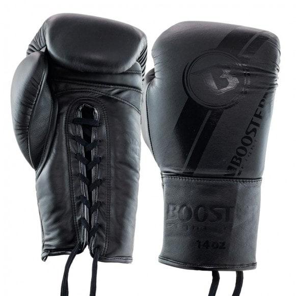 Zwart matte kickbokshandschoenen van Booster Pro, de BGL V3 dark side laces. de