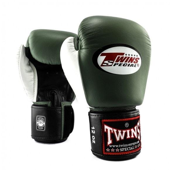 Zwart groen witte kickbokshandschoenen, de BGVL 4 van Twins.