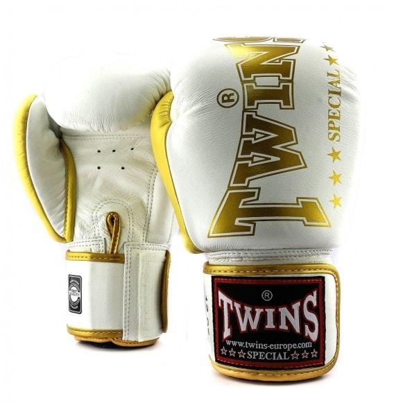Wit gouden kickbokshandschoenen van Twins, de BGVL 8.