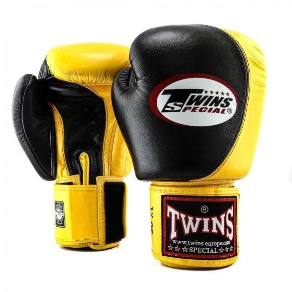 Zwart gele kickbokshandschoenen de BGVL 9 van Twins.