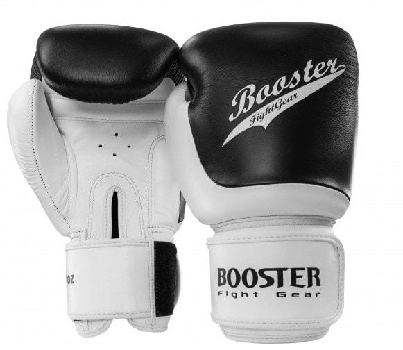 Wit zwarte kickbokshandschoenen van Booster, de BGL Slugger 1.