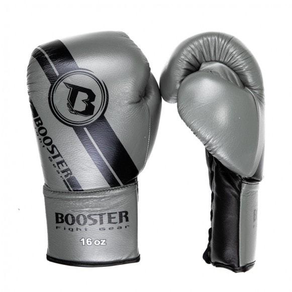Grijze kickbokshandschoenen van Booster, de Pro BGL V3 NEW laced.