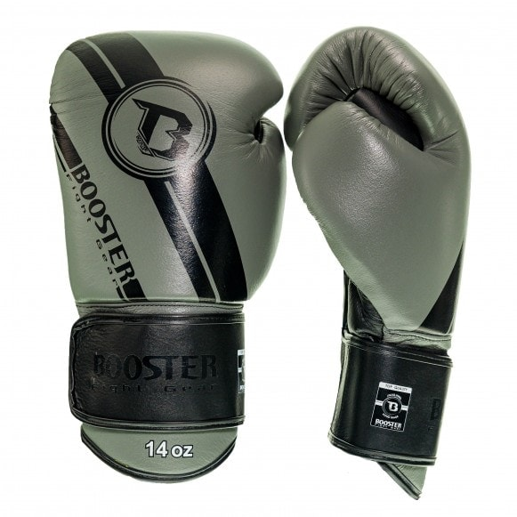 Grijze kickbokshandschoenen van Booster, de Pro BGL V3 NEW.