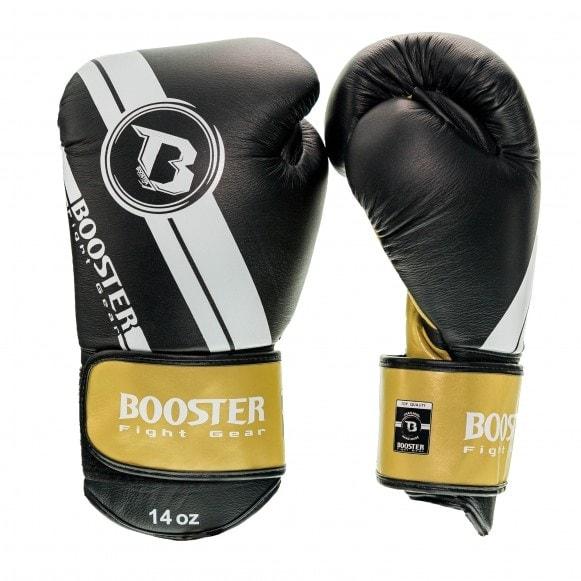 Zwart gouden kickbokshandschoenen van Booster, de Pro BGL V3 NEW.