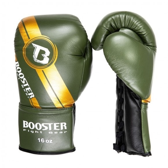 Groene kickbokshandschoenen van Booster, de Pro BGL V3 NEW laced.