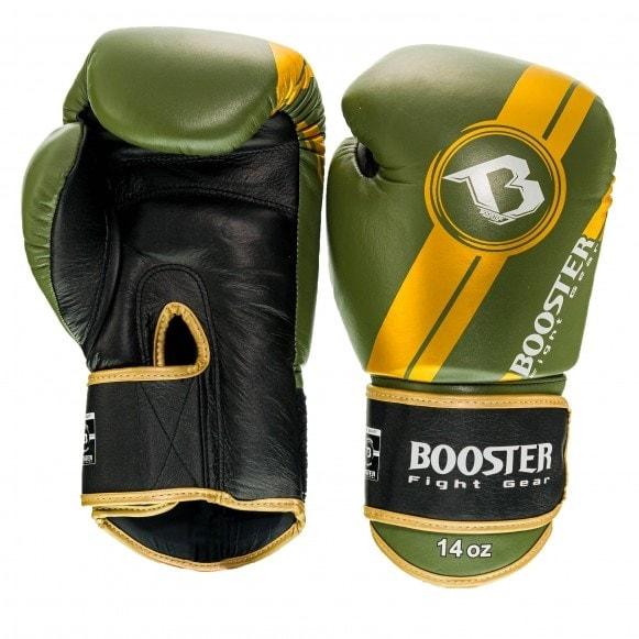Zwart groene kickbokshandschoenen van Booster, de Pro BGL V3 NEW.
