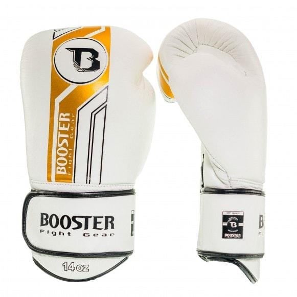 Wit gouden kickbokshandschoenen van Booster, de Pro BGL V3.