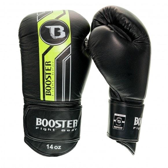 Zwart met neon kickbokshandschoenen van Booster, de Pro BGL v9.