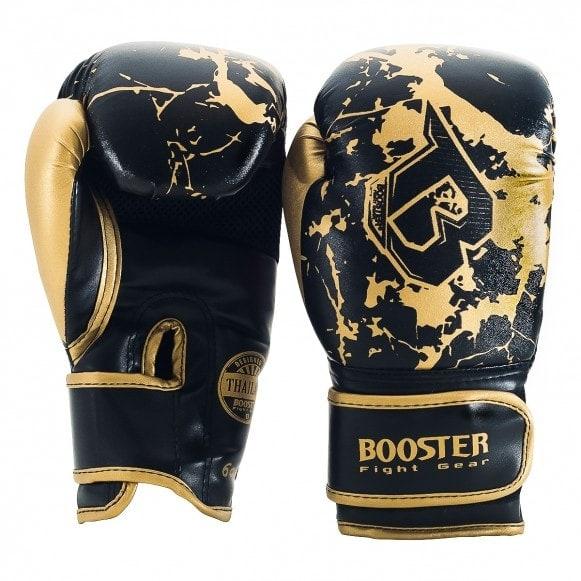 Zwart gouden Booster kickbokshandschoenen, de BG Youth marble gold.