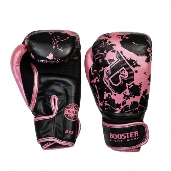 Zwart roze Booster kickbokshandschoenen, de BG Youth marble pink.