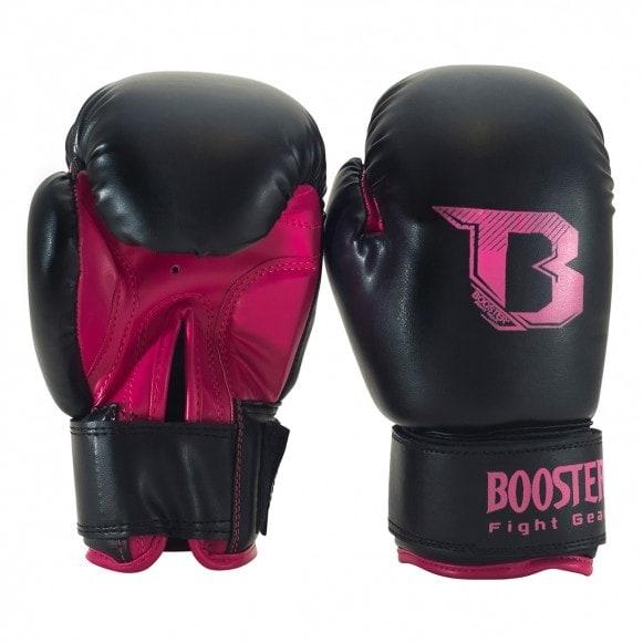 Zwart roze kickbokshandschoenen van Booster, de BT Kids duo neon pink.