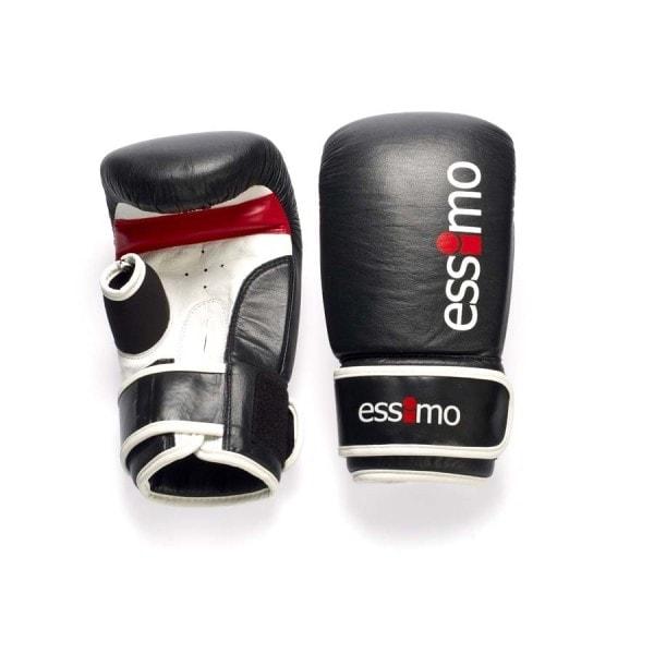 Zwart witte leren bokszakhandschoenen van Essimo.
