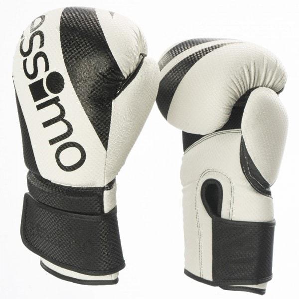 Wit zwarte Maya (kick)bokshandschoenen van Essimo.