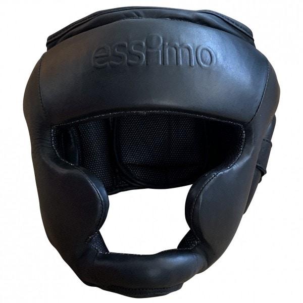 Zwarte leren hoofdbeschermer van Essimo.